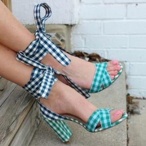 J Crew Mixed Gingham Heeled Sandals w/ Ankle Wrap